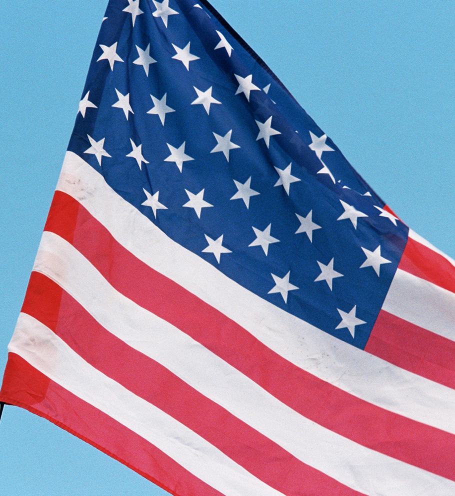 American flag against blue background