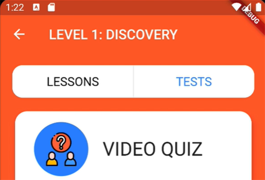 An image of a phone app that contains different quizes and tests. The title says Level 1 Discovery