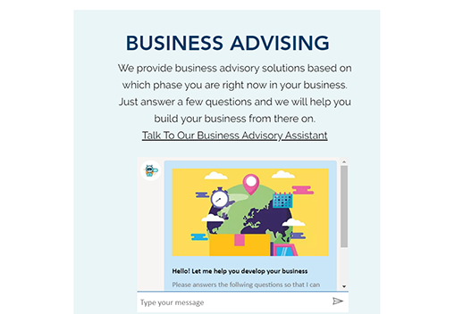 The title says 'Business Advising'. Underneath is a description that prompts you to 'Talk To Our Business Advisory Assistant'