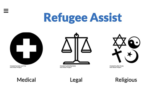 Screenshot with a title that says Refugee Assist. There are icons below that say 'Medical', 'Legal', 'Religious', etc.