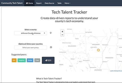 This is a moving image of the Talent Tech Tracker app. You can filter by county to see the tech economic report of different areas.
