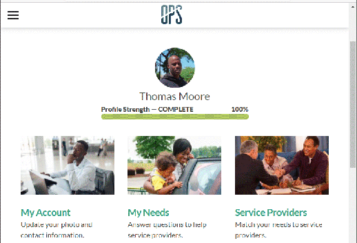 The image contains a screenshot of someone's profile in the app. The name is 'Thomas Moore', with options to select 'My Account', 'My Needs', and 'Service Providers'.