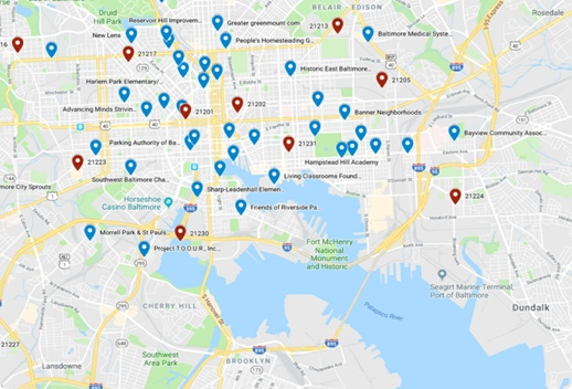 Map of Baltimore with blue and red map pin icons