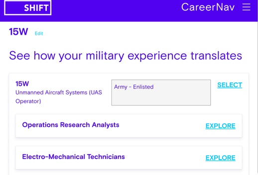 Screenshot of Career Nav application with a header that reads 'See how your military experience translates' with two job opportunities listed below