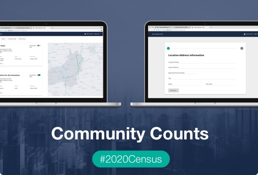 Two open laptops with a web application open, with Community Counts, 2020Census written below