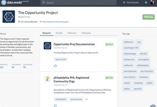 Screenshot of data dot world dashboard featuring The Opportunity Project