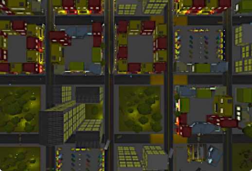 Screenshot of a computer game displaying an overhead view of city blocks