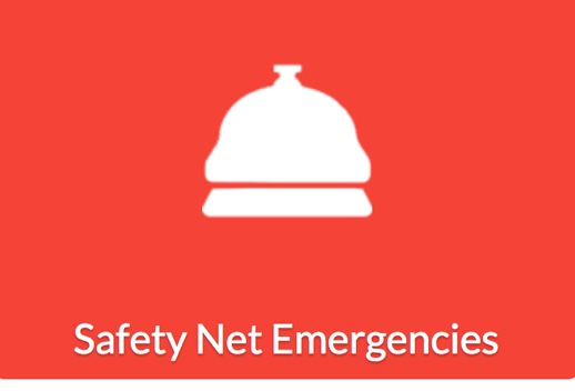 Bright red background with white bell icon, with text underneath that reads Safety Net Emergencies