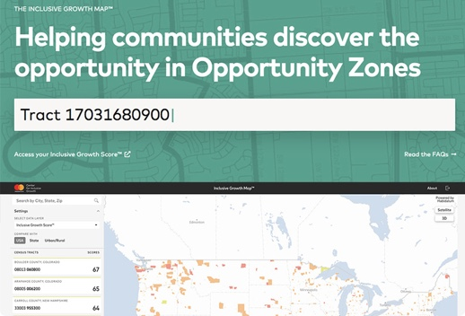 Screenshot of Inclusive Growth Score app with a header that reads Helping communities discover the opportunity in Opportunity Zones