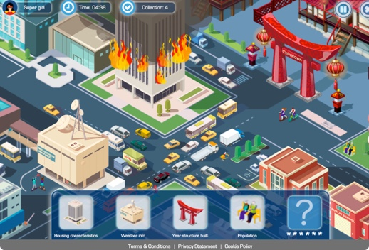 Screenshot of a computer game birdseye view of several city blocks with buildings, a taller building that is on fire, a Chinatown sign, trucks, buses, and taxis, and people.