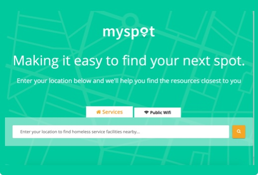 Screenshot of MySpot website with a search field with two tabs, one labeled Services and one labeled Public Wifi. The leading text in the search field says Enter your location to find homeless service facilities nearby.
