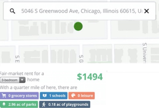 Screenshot showing fair market rent for 3 bedroom apartment in a Chicago neighborhood