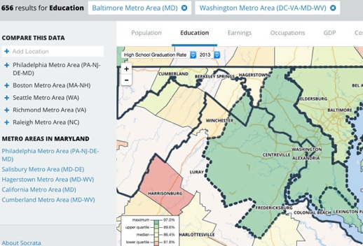 Map of Washington D.C. and Baltimore Metro Areas showing high school graduation rate
