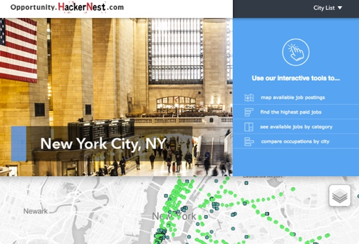 Screenshot of Opportunity dot hackernest dot com with New York City map and overlaid photo of Grand Central Station