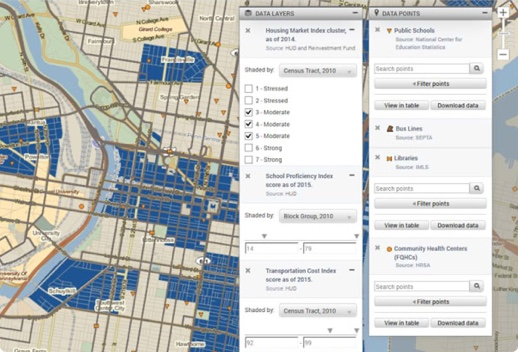 Map with options to explore housing market and school districts