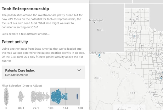 Map of a portion of Texas titled Tech Entrepreneurship