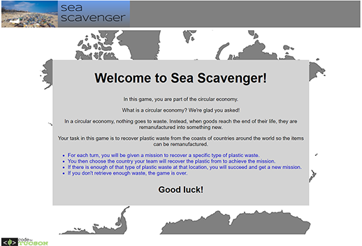 This page says 'Welcome to Sea Scavenger'. The introduction screen to the game explains what a circular economy is, the rules of the game, and what tasks need to be completed.
