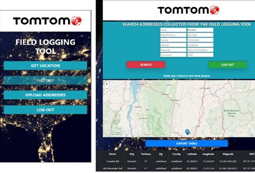 Side by side screenshots of app and desktop view of TomTom Field Logging Tool