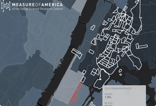 Map of the South Bronx and northern Manhattan with the Measure of America logo