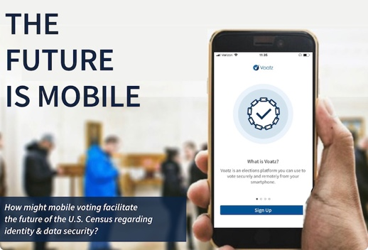 Hand holding up a mobile phone app reading 'How might mobile voting facilitate the future of the U.S. Census regarding identity and data security?'