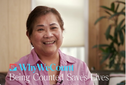 Seated, smiling woman. Below is the logo of Why We Count and text that reads Being Counted Saves Lives.