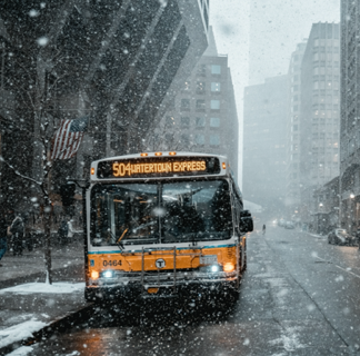 City bus driving down a street in the snow