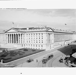 Black and white photo of the U.S. Treasury Building