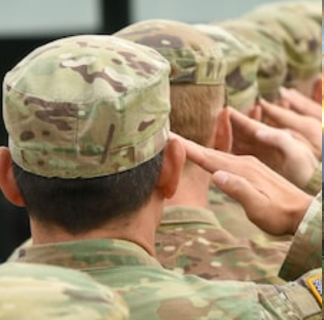 A line of soldiers facing away from the camera and saluting